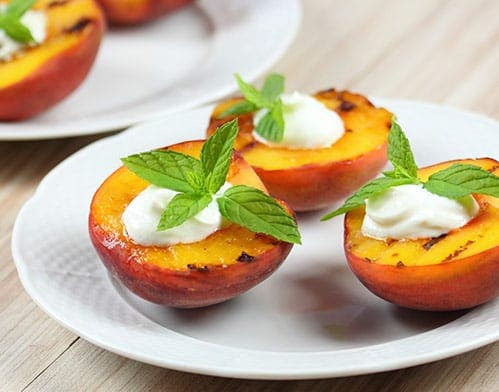 Grilled Peaches with Cashew Creme Sauce Recipe
