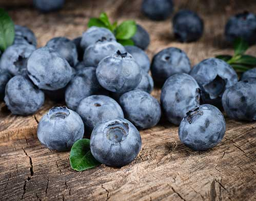 Organic Blueberries with Leaves