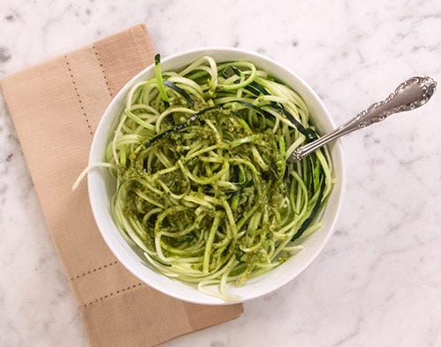 vegan zucchini noodle pesto