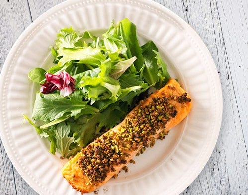 pistachio and coconut crusted salmon