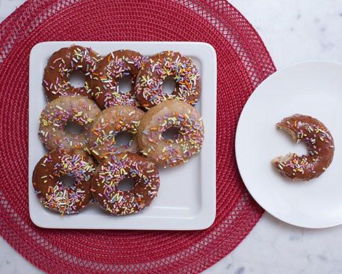 Vegan Donuts with Chocolate Protein Glaze