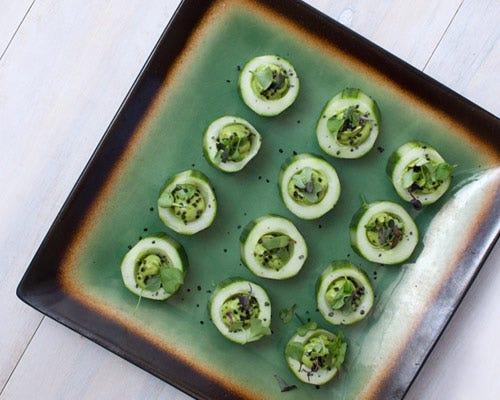 Cucumber avocado bites