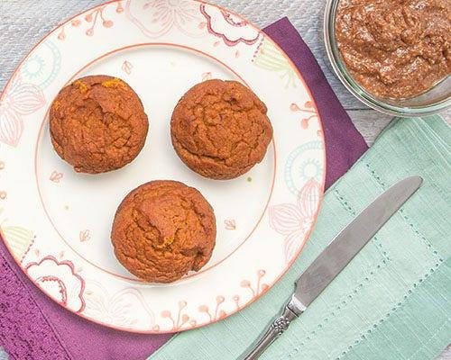 Gluten free muffins with pumpkin spread