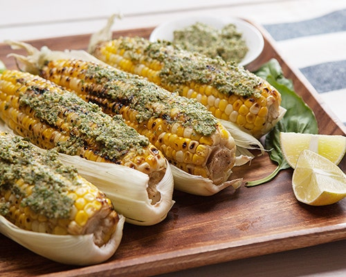 Grilled Corn with Kale Pesto