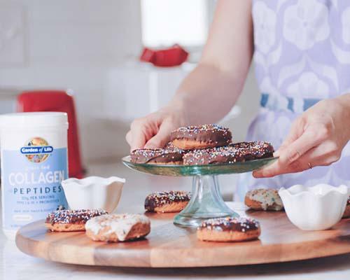 Chocolate & Vanilla Glazed Collagen Donuts