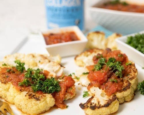 Cauliflower Steaks with Tomato Chutney and Grass Fed Collagen Peptides. Garden of Life Recipe