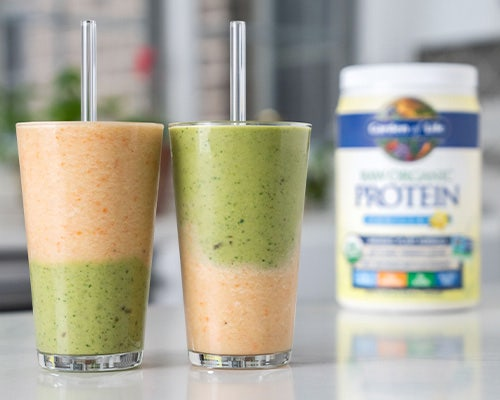 layered smoothie Garden of Life Protein