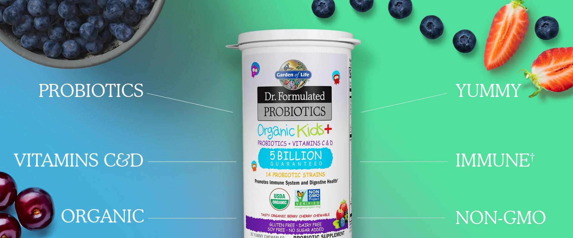 dr formulated kids+ probiotics by garden of life