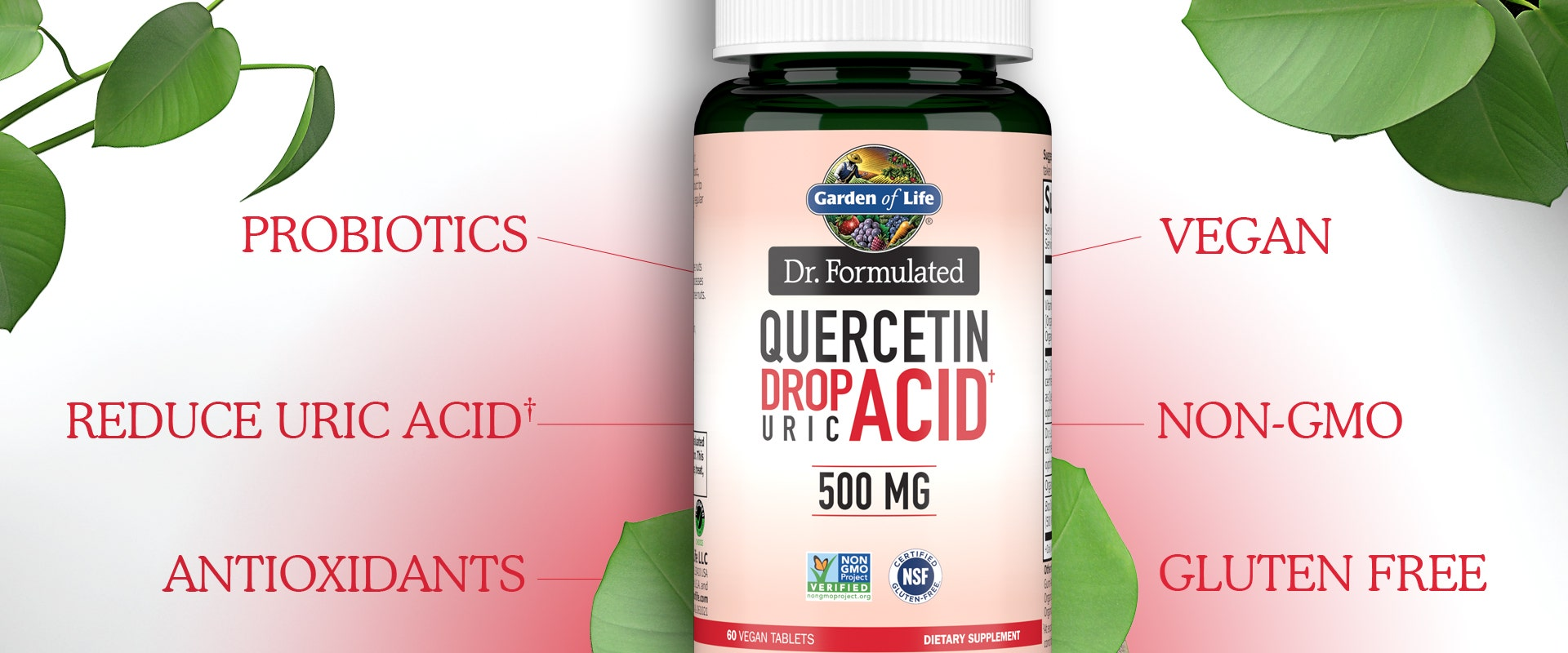 dr formulated 500mg Quercetin Drop Uric Acid by Garden of Life