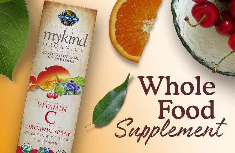 vitamin c spray cherry tangerine mykind organics by garden of life