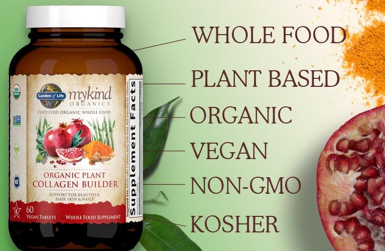 mykind Organics Plant Collagen Builder 60ct TABLETS Garden of Life