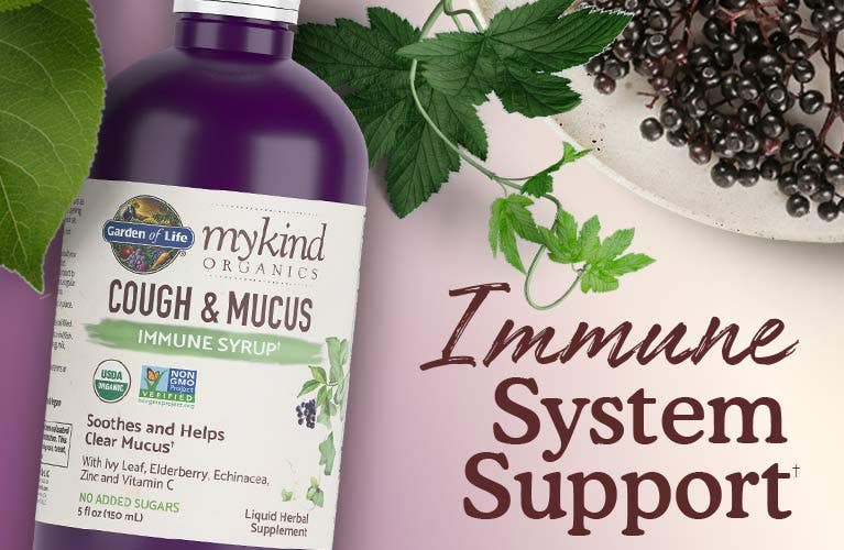 elderberry syrup cough and mucus Garden of Life mykind Organics