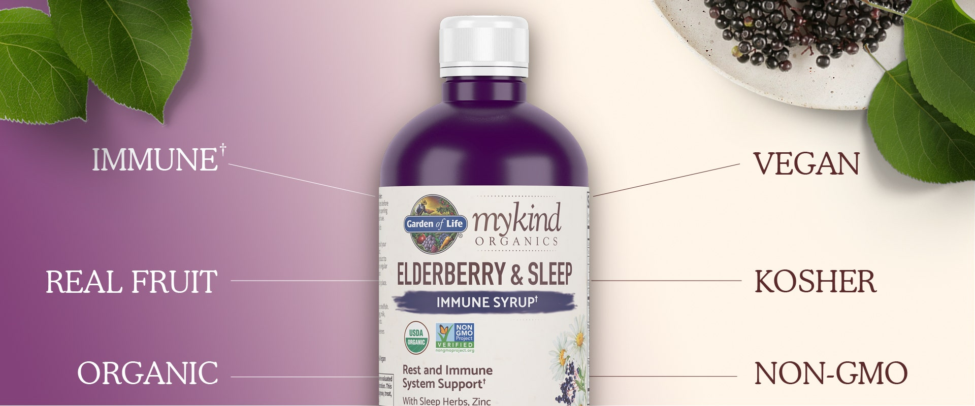 elderberry and sleep mykind Organics by Garden of Life