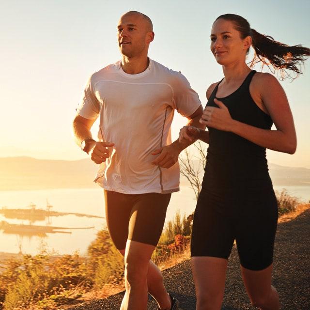 raw organic protein couple jogging